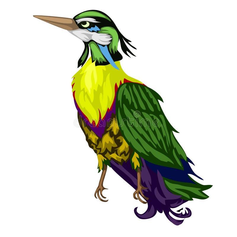 Helder gekleurde tropische die vogel op een witte achtergrond wordt geïsoleerd De vectorillustratie van het beeldverhaalclose-up stock illustratie