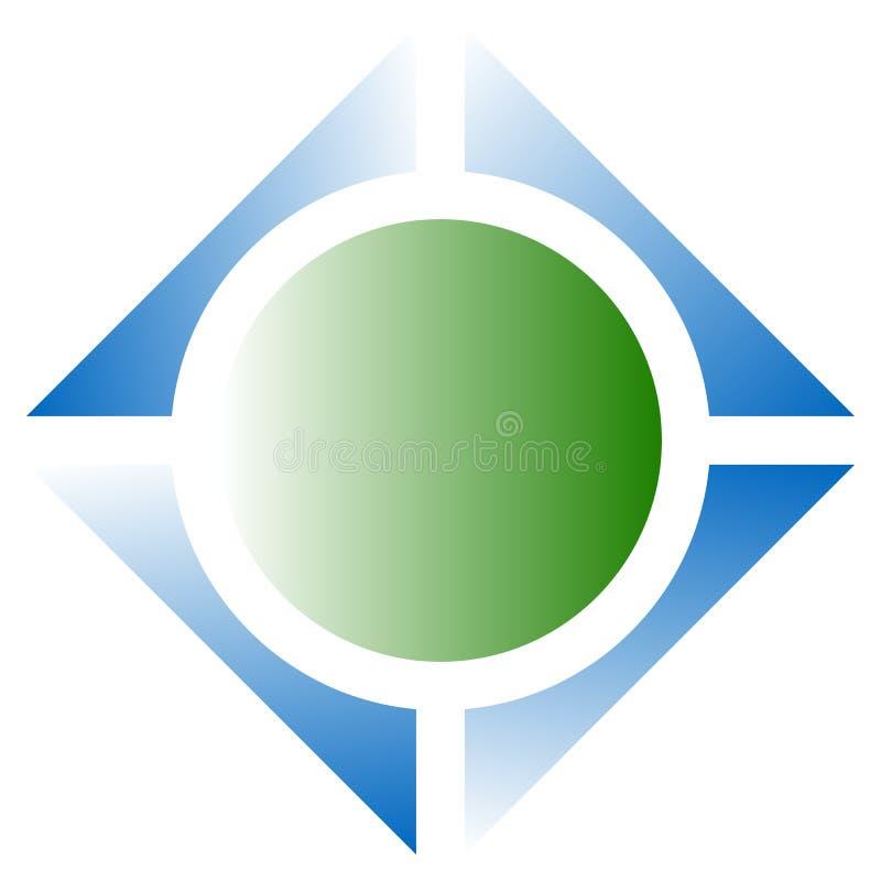 Helder geometrisch embleem of pictogram met vierkant en cirkel vector illustratie