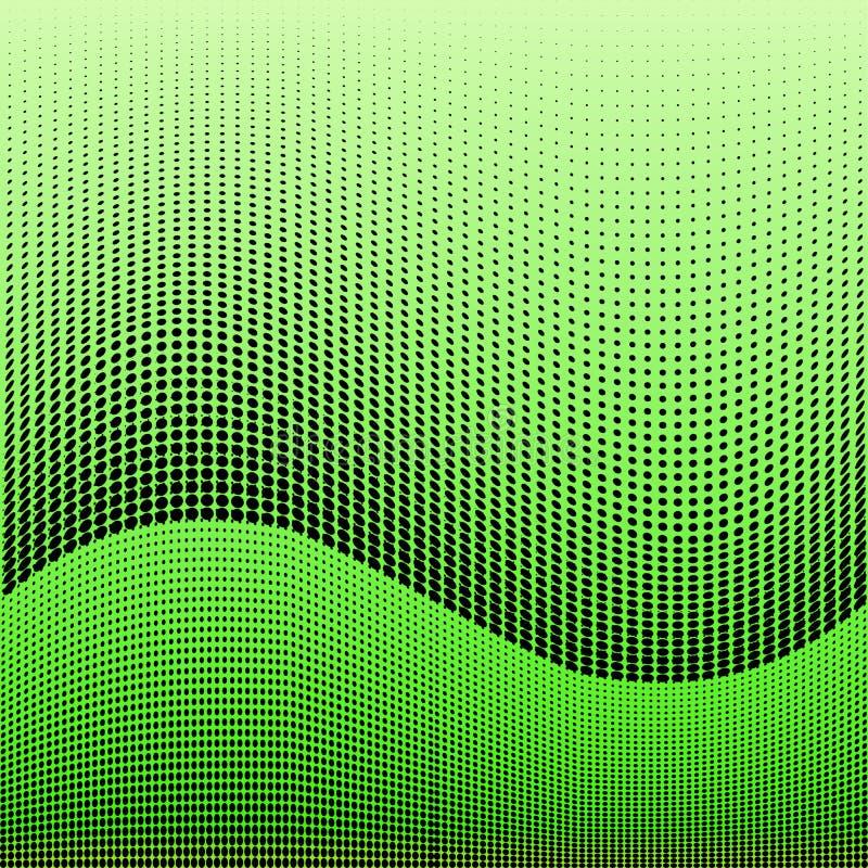 Helder geometrisch groen zwart grunge halftone patroon Zachte dynamische lijnen Abstracte vectorillustratie met punten royalty-vrije illustratie