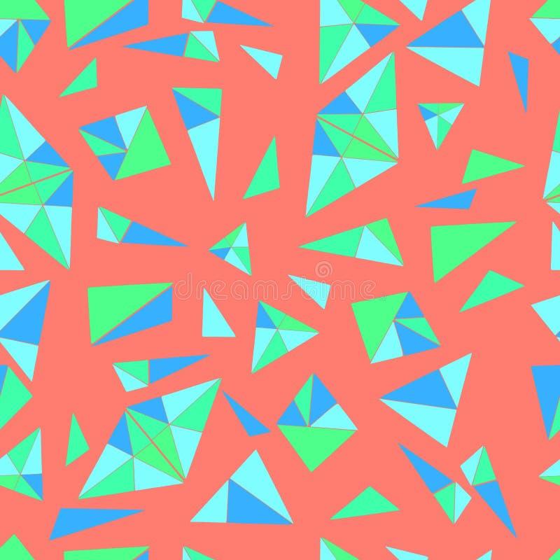 Helder, geometrisch patroon van vele kleine driehoeken in blauwe kleur, stock illustratie