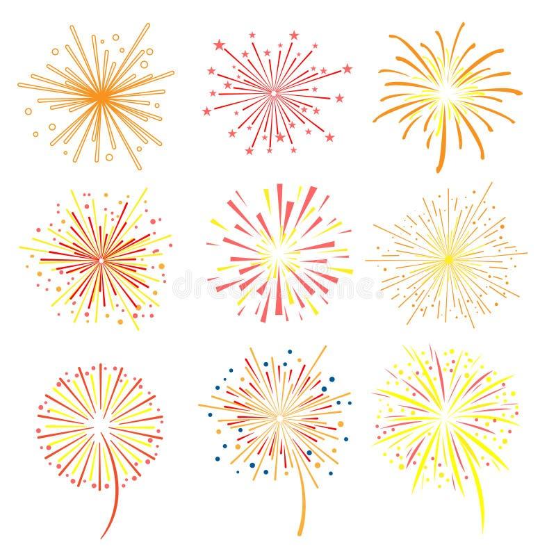 Helder geplaatst vieringsvuurwerk, vakantie en partij de elementen vectorillustratie van het vuurwerkontwerp royalty-vrije illustratie
