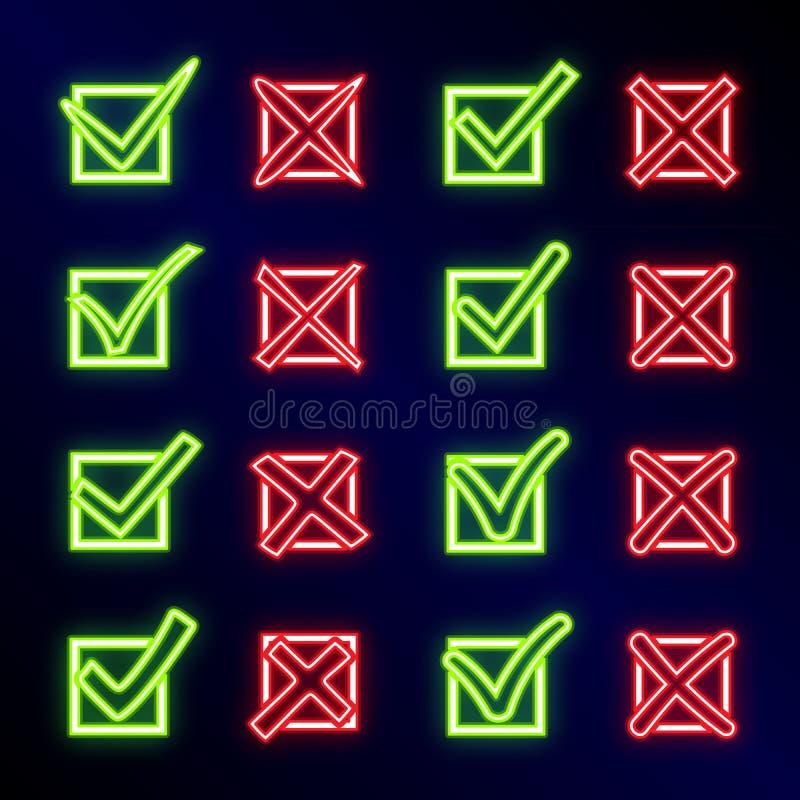 Helder gloeiend neonteken X en V in controledoos Reeks groene neonhaken en rode neonkruisen Ja Geen pictogrammen voor websites stock illustratie