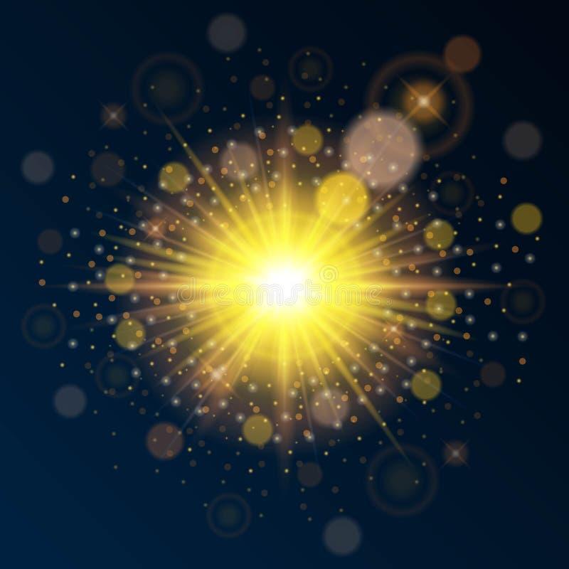 Helder gouden malplaatje van uitstekende kwaliteit voor nieuwe jaar en Kerstmis Effect van het gebruiks het heldere zonlicht Vect vector illustratie