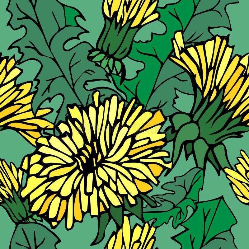 Helder hand-drawn patroon met gele bloemen en bladeren royalty-vrije illustratie