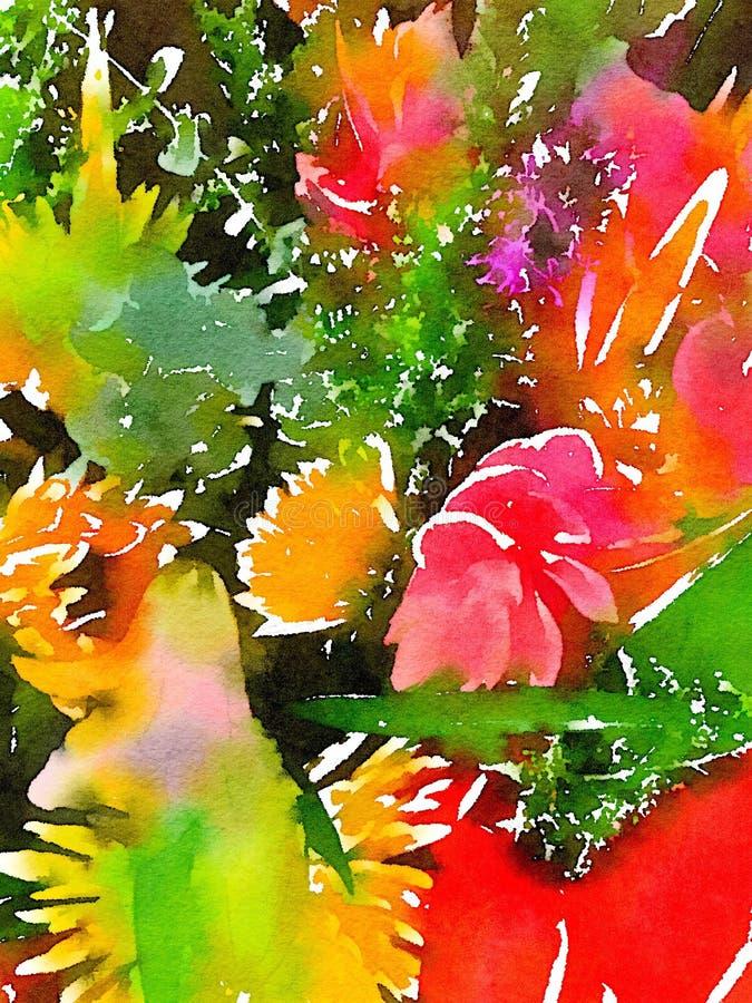 Helder het gekleurde abstracte bloemenwaterverf schilderen royalty-vrije illustratie