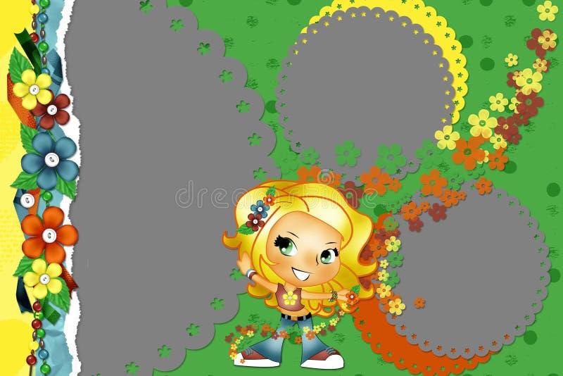 Helder kader met bloemen en met het meisje vector illustratie