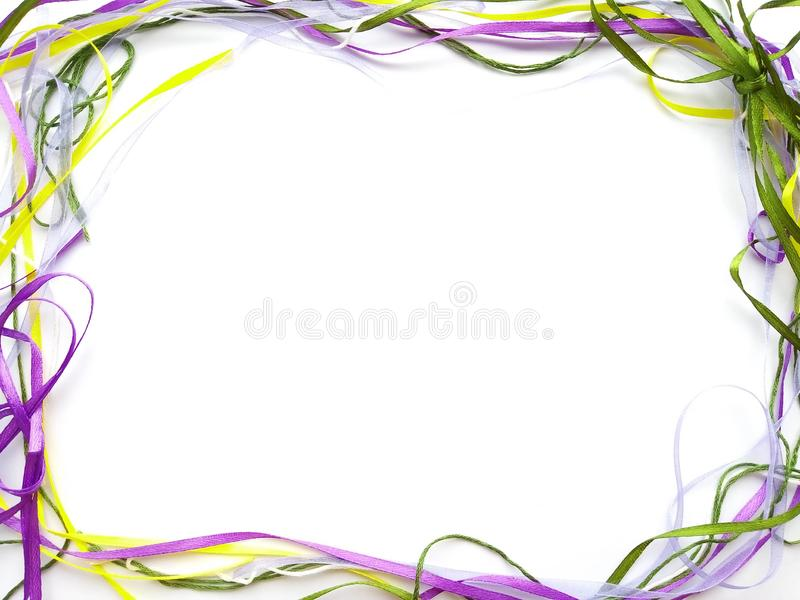 Helder kader van gekleurde linten stock afbeelding