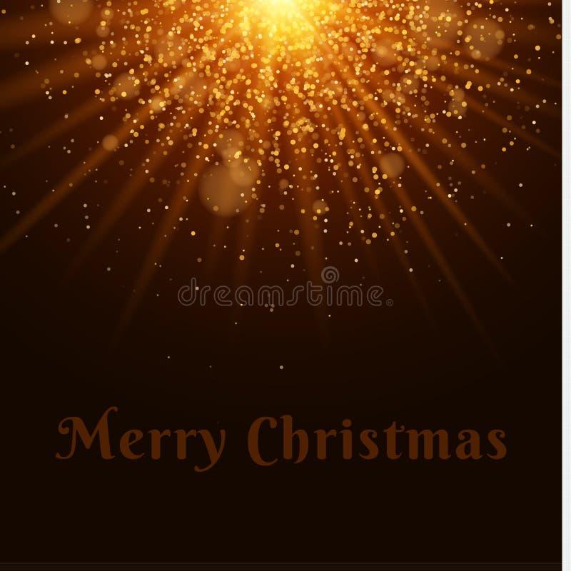 Helder Kerstmis gouden licht Mooie tekst Flitslicht Abstracte oranje lichten en stralen van licht Gouden zand Feestelijke backgro royalty-vrije illustratie