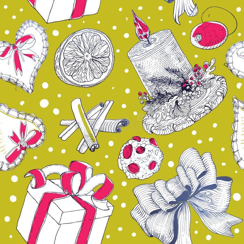 Helder Kerstmispatroon met gravuretekeningen royalty-vrije illustratie