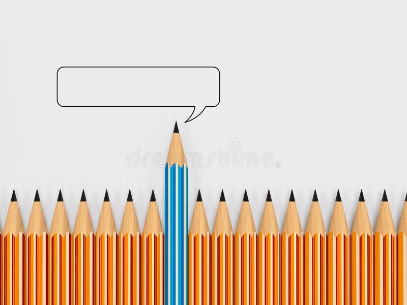 Helder kleurpotloden en Toespraak. concept communicatie Th stock illustratie