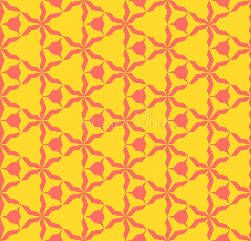 Helder kleurrijk abstract geometrisch naadloos patroon Koraal en gele kleur vector illustratie