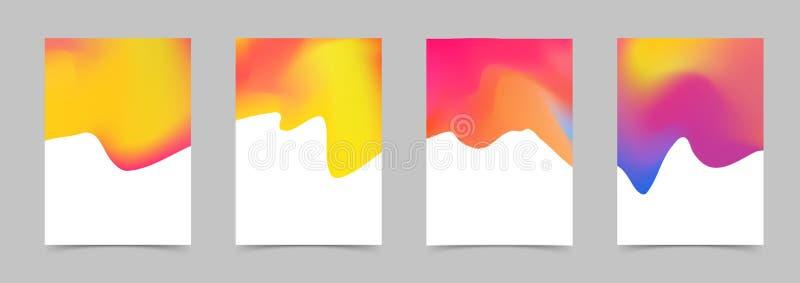 Helder kleurrijk abstract vloeibaar modern afficheontwerp Milde vloeistof stock illustratie