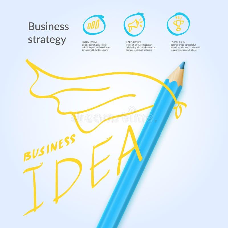 Helder kleurrijk affiche bedrijfsidee met potloden en tekeningen voor infographics Vector illustratie stock illustratie