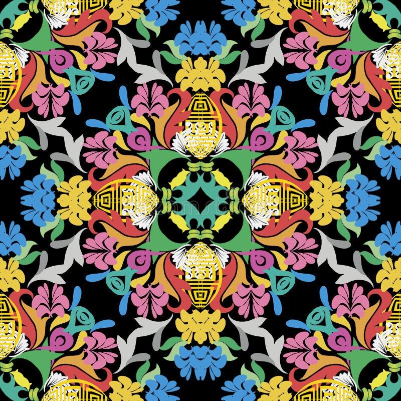 Helder kleurrijk Barok vector naadloos patroon Damast sier veelkleurige achtergrond Uitstekende bloemen barokke ornamenten binnen vector illustratie