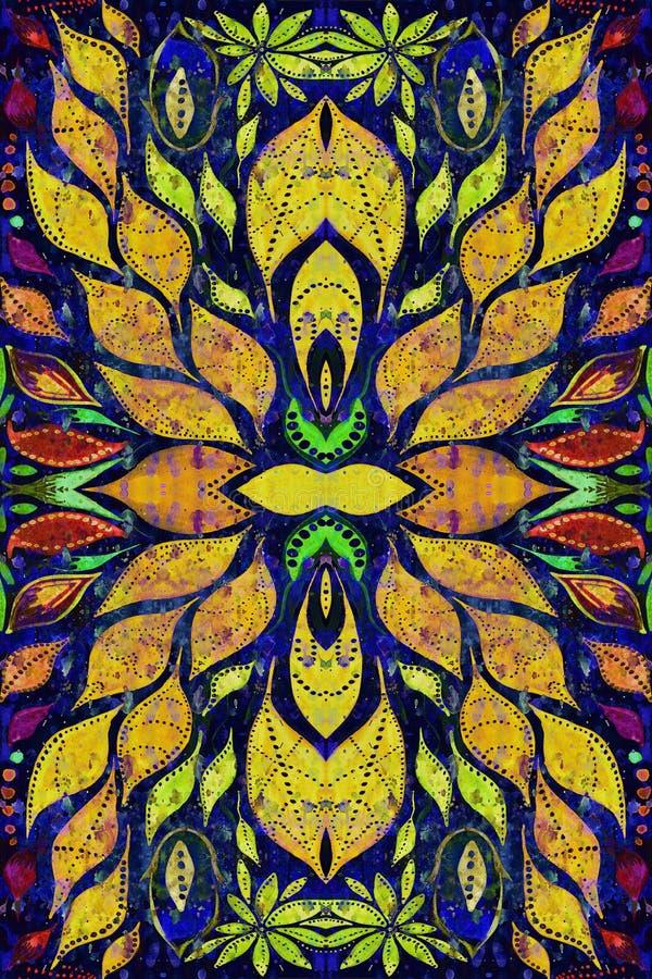 Helder kleurrijk ethiek Indisch patroon Collage met hand - gemaakte waterverfvlekken, bloemblaadjes, bladerenbloemen De achtergro stock illustratie