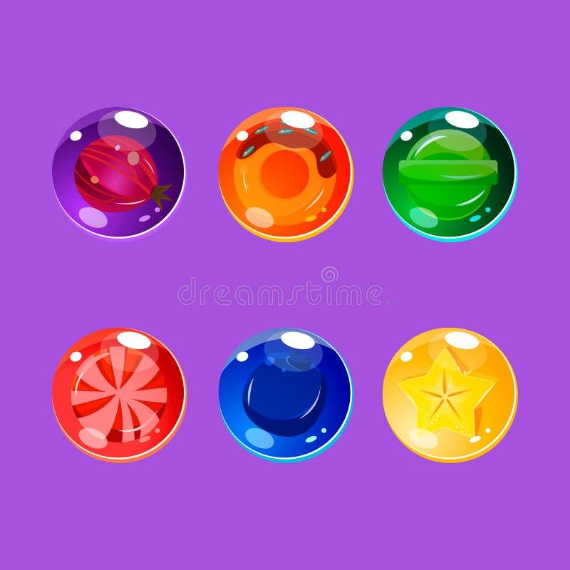 Helder Kleurrijk Glanzend Suikergoed met Fonkelingen stock illustratie
