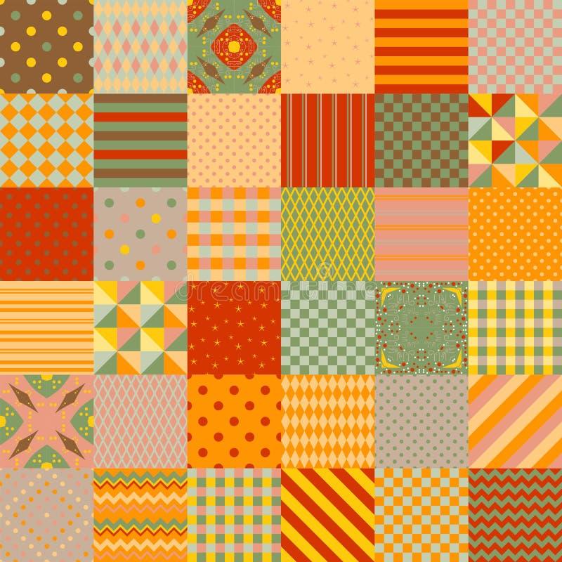 Helder kleurrijk lapwerkpatroon Vierkante flarden met verschillende geometrische ornamenten Naadloze vectorillustratie van dekbed royalty-vrije illustratie