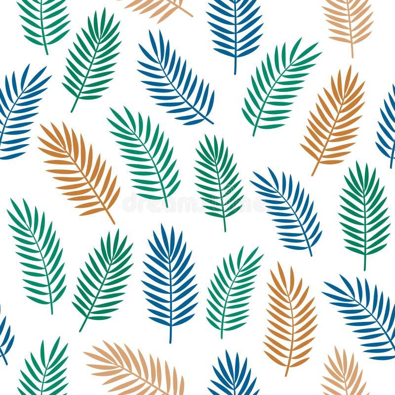 Helder kleurrijk naadloos decoratief patroon met oranje blauwe en groene tropische die palmbladen op witte achtergrond worden geï vector illustratie