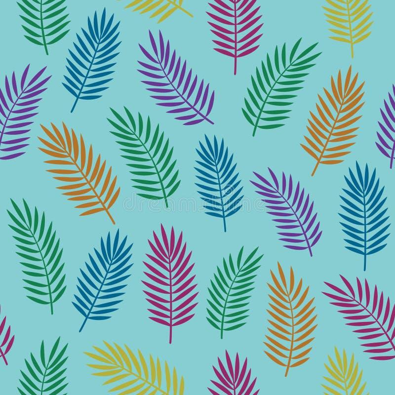 Helder kleurrijk naadloos decoratief patroon met oranje blauwe violette en groene tropische palmbladen op blauwe achtergrond vector illustratie