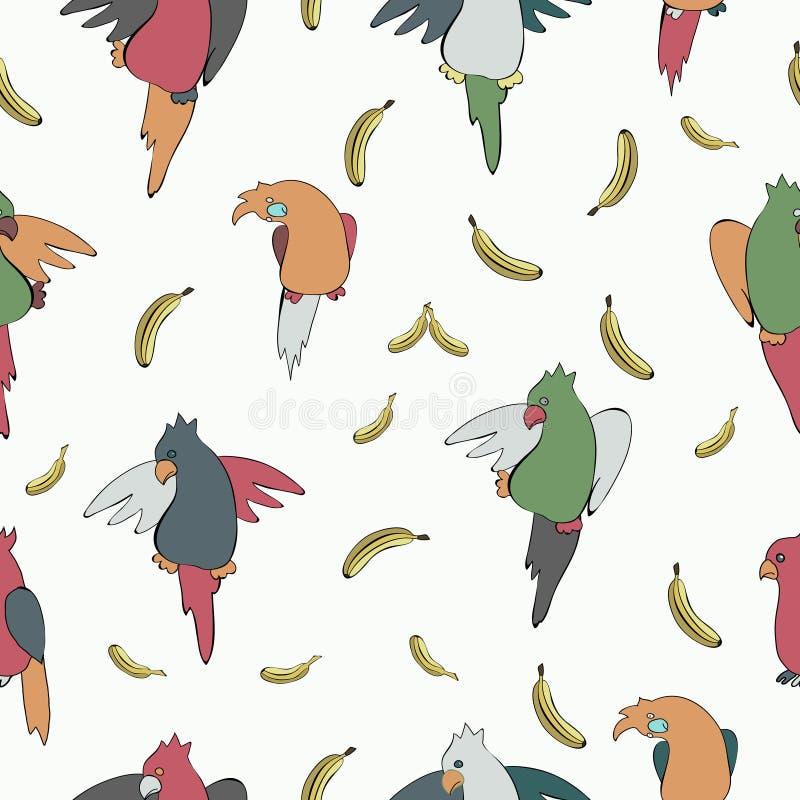 Helder, kleurrijk patroon van exotische papegaaien in een kinderachtige stijl royalty-vrije illustratie