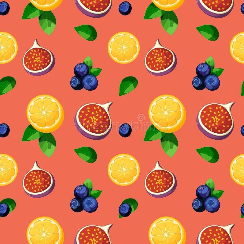Helder kleurrijk tropisch vruchten mengsel naadloos patroon met citroen, fig., bosbessen en bladeren stock illustratie