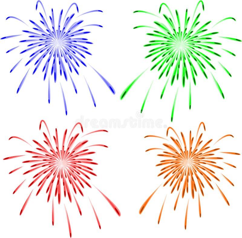 Helder kleurrijk vectorvuurwerk. Vector stock illustratie