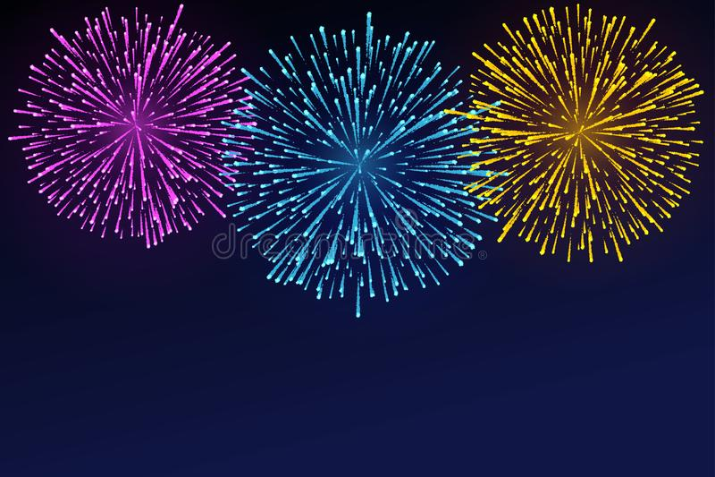 Helder kleurrijk vuurwerk vector illustratie