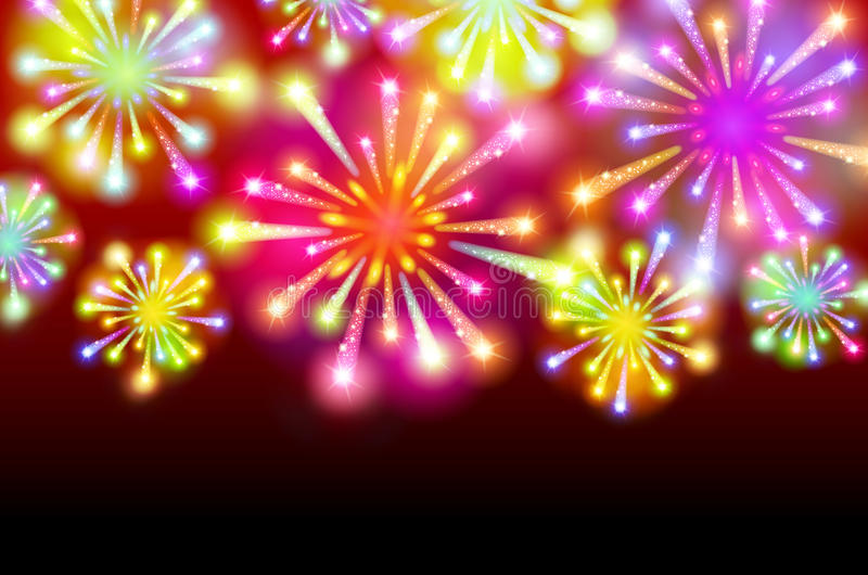 Helder Kleurrijk Vuurwerk op schemering achtergrondvector stock illustratie