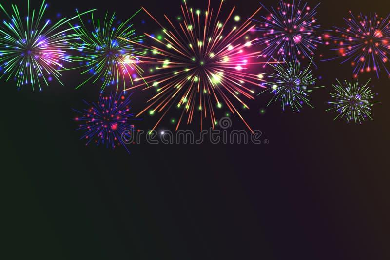 Helder Kleurrijk Vuurwerk op schemeringachtergrond stock illustratie