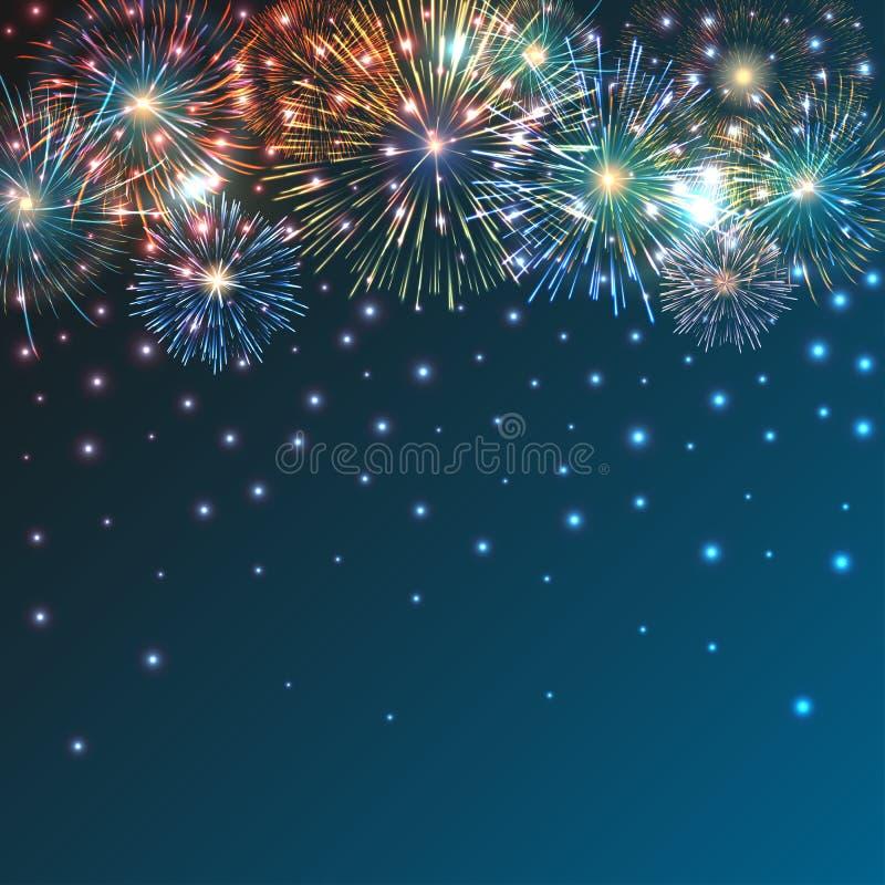 Helder Kleurrijk Vuurwerk op schemeringachtergrond vector illustratie