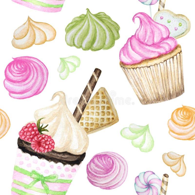 Helder kleurrijk Zoet heerlijk waterverf Naadloos patroon met cupcakes stock illustratie