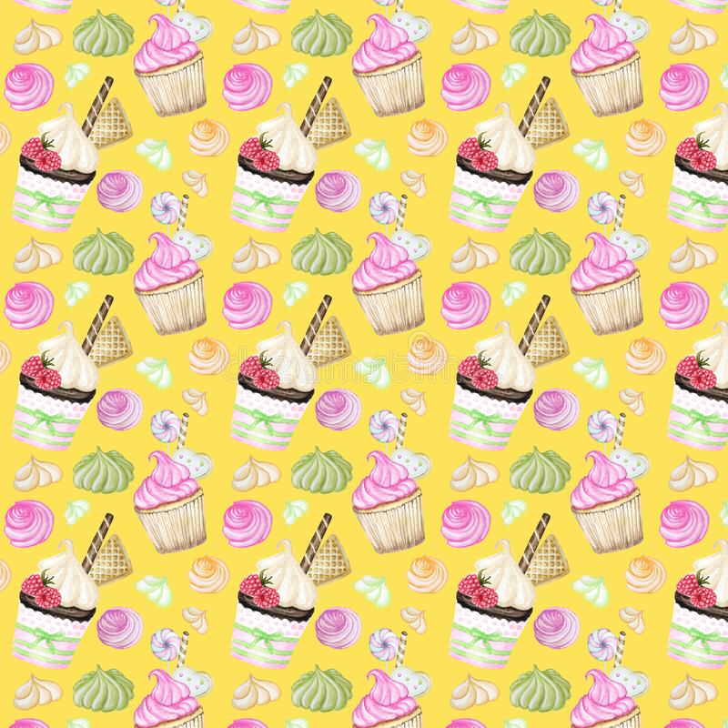 Helder kleurrijk Zoet heerlijk waterverfpatroon met cupcakes Geïsoleerde elementen op heldere gele achtergrond royalty-vrije illustratie
