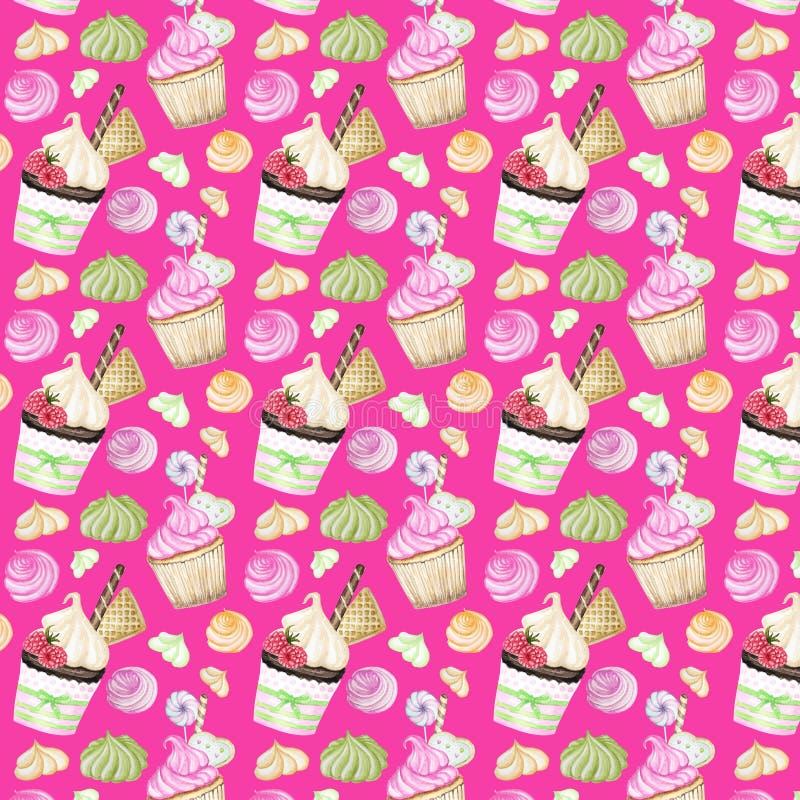 Helder kleurrijk Zoet heerlijk waterverfpatroon met cupcakes Waterverfhand getrokken illustratie vector illustratie