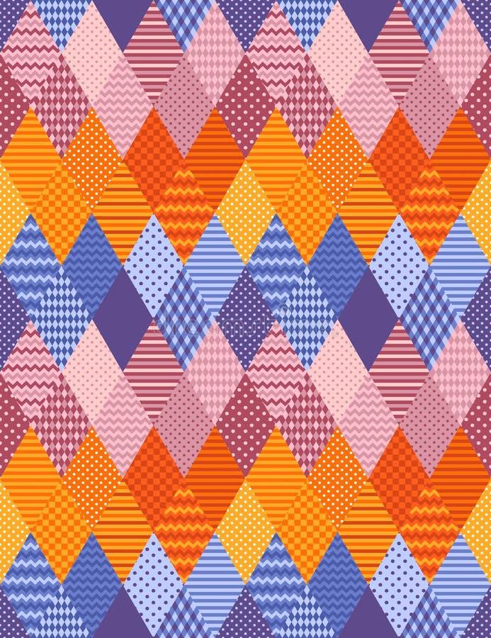 Helder lapwerk naadloos patroon van sierruitflarden stock illustratie