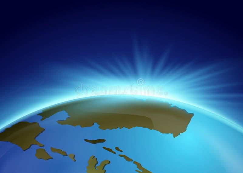 Helder licht achter de aarde vector illustratie