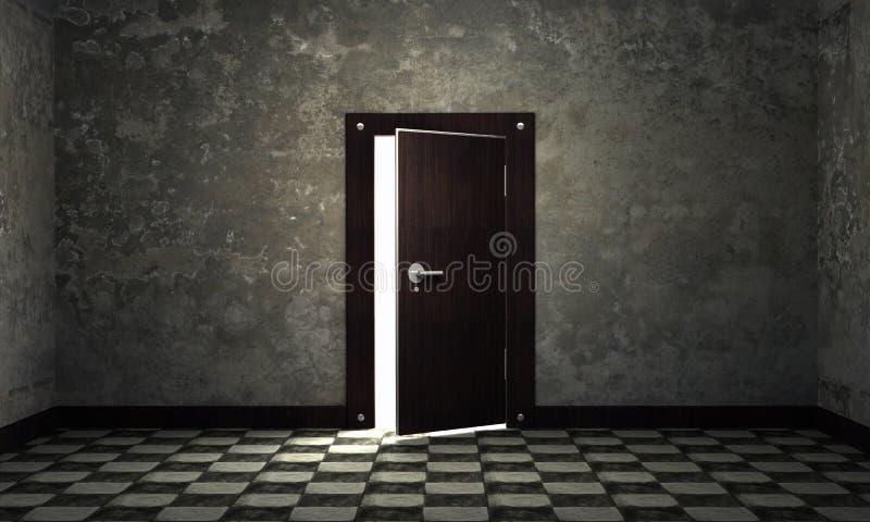 Helder licht door een open deur vector illustratie