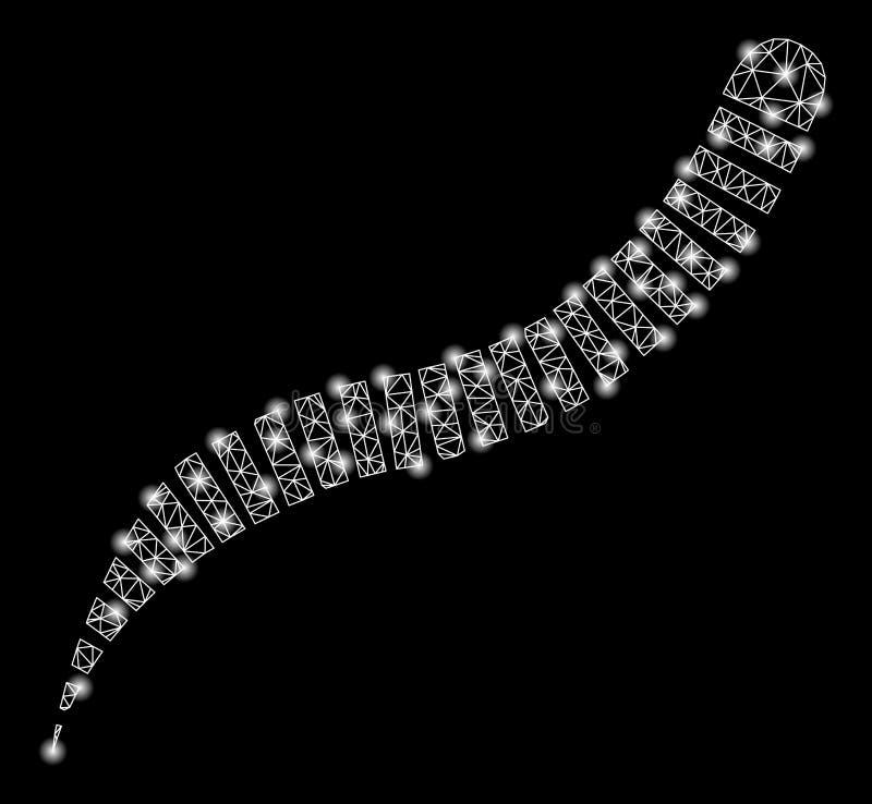 Helder Mesh Carcass Annelid Worm met Gloedvlekken vector illustratie