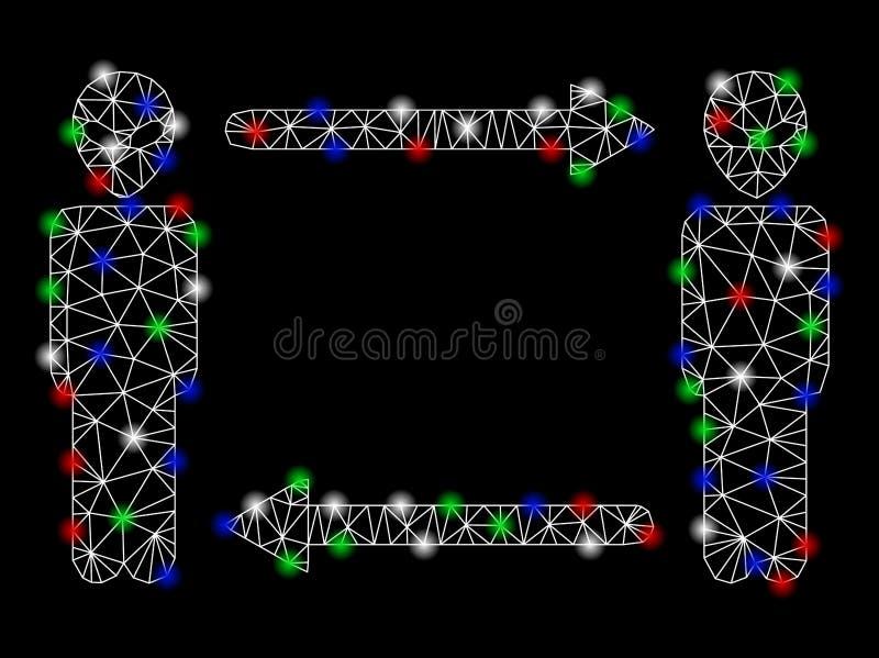 Helder Mesh Network Alien Exchange Arrows met Lichte Vlekken vector illustratie