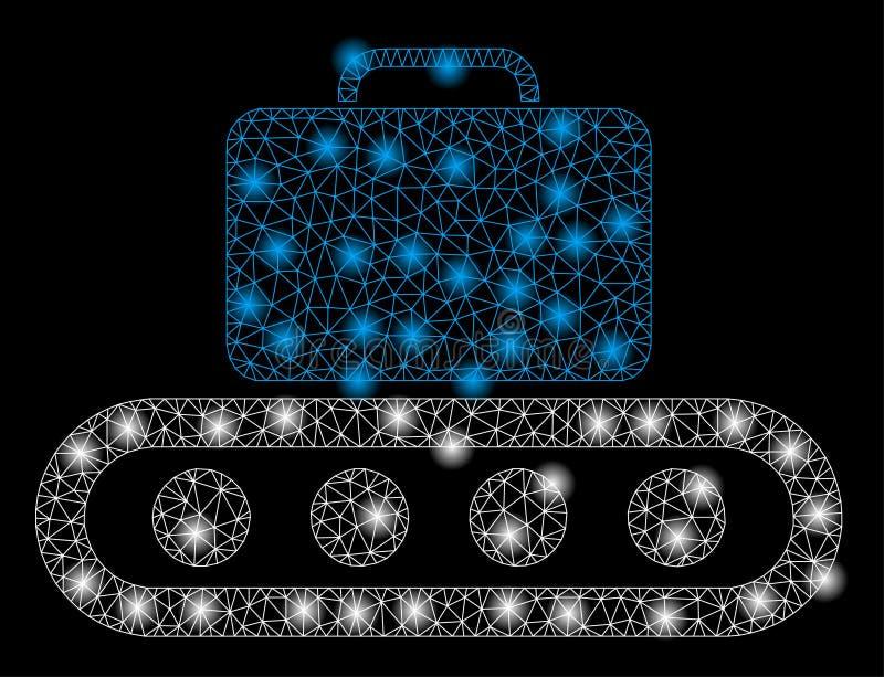 Helder Mesh Network Baggage Conveyor met Lichte Vlekken stock illustratie