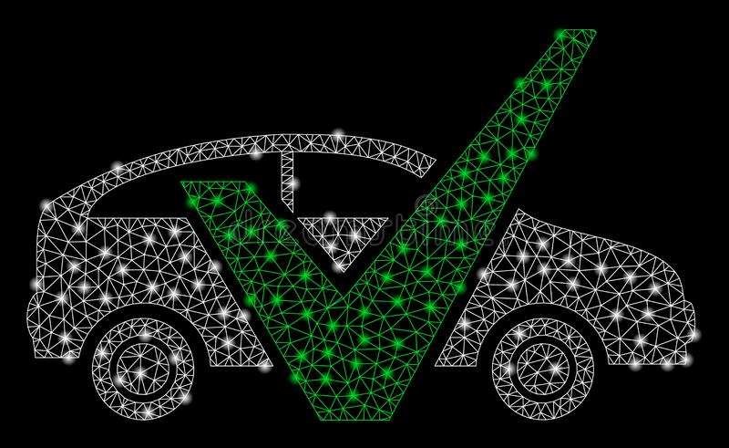 Helder Mesh Wire Frame Approved Car met Gloedvlekken stock illustratie