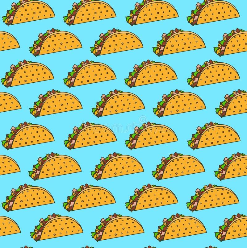Helder Mexicaans fastfood naadloos patroon met taco's op blauwe achtergrond stock afbeeldingen