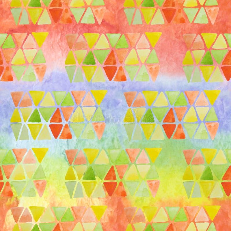 Helder modern naadloos patroon met hand getrokken regenboogborstel srtipes en mozaïekdriehoeken voor jonge geitjestextiel, stoffe vector illustratie