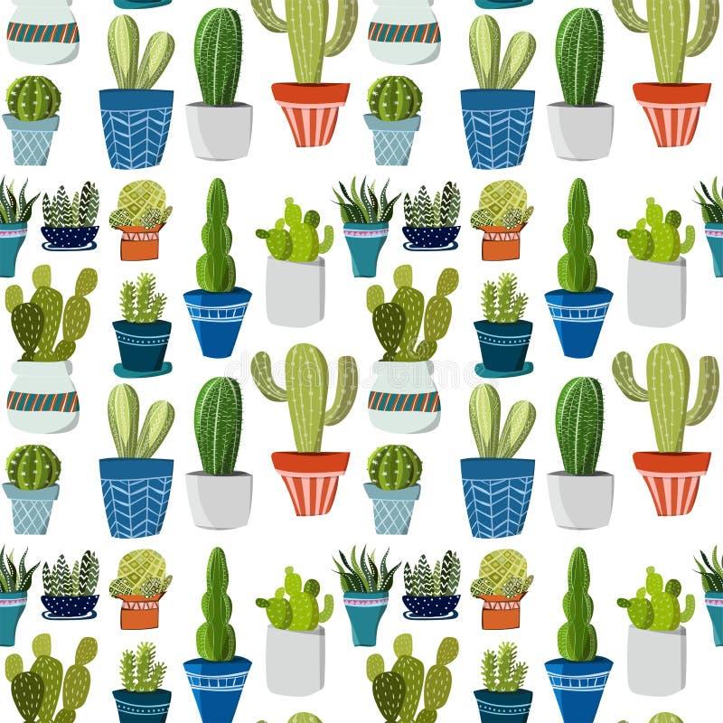 Helder mooi verfijnd Mexicaans tropisch bloemen kruiden de zomer groen naadloos patroon van Hawaï van een cactus in pottenvector stock illustratie