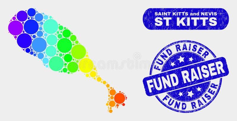 Helder Mozaïekst Kitts Eilandkaart en Noodfonds - fokkerswatermerk vector illustratie
