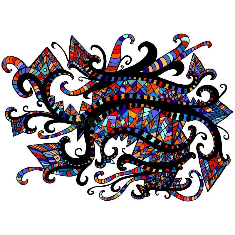 Helder, multicolored etnisch motief, grafische achtergrond voor ontwerp stock illustratie