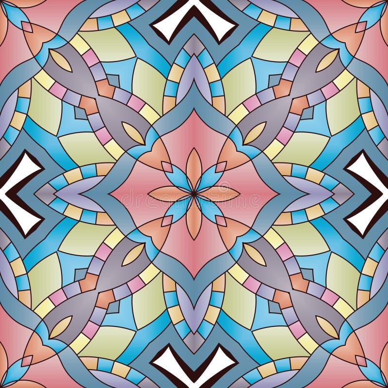 Helder naadloos abstract patroon, mandala stock illustratie