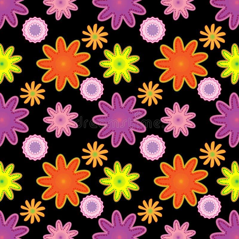Helder naadloos bloemenpatroon in roze, oranje en purper over zwarte achtergrond royalty-vrije illustratie