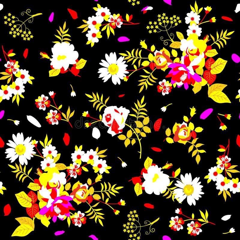 Helder naadloos bloemenpatroon in witte, gele, roze en rode kleuren op zwarte backgound Druk voor stof vector illustratie