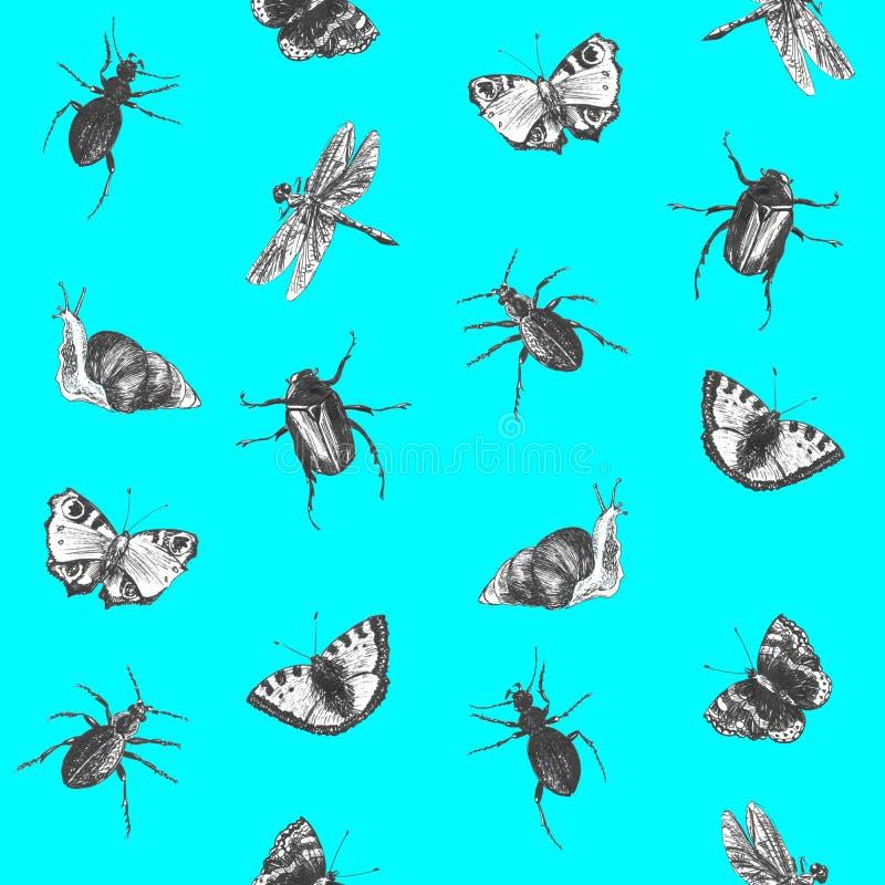Helder naadloos de zomerpatroon met vlinders, kevers en libellen Hand getrokken insecten Grafische achtergrond voor textiel, stock fotografie