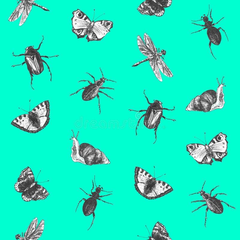 Helder naadloos de zomerpatroon met vlinders, kevers en libellen Hand getrokken insecten Grafische achtergrond voor textiel, stock afbeelding